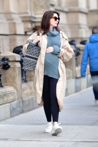 Pregnant Anne Hathaway Out in New York