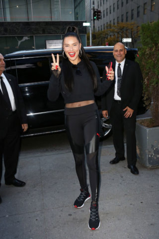 Adriana Lima Promotes Her Line of Athletic Clothes at Puma Store in New York