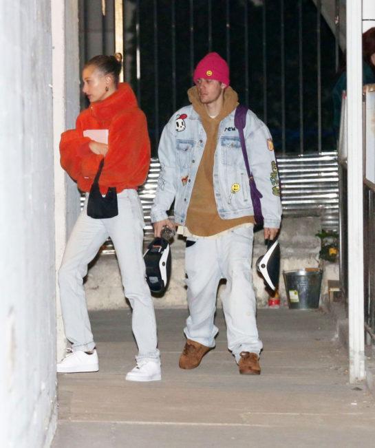 Hailey Baldwin andJustin Bieber at Weekly Night Church Service in Hollywood