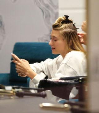 Hailey Bieber at a Hair Salon in Beverly Hills