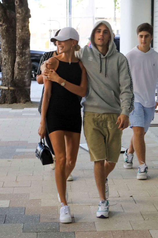 Hailey in Black Mini Dress with Justin Bieber Out in Miami