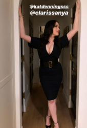 Kat Dennings in a Black Dress Instagram Photos