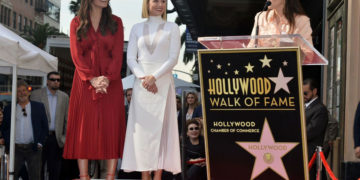 Kristen Bell and Idina Menzel at Hollywood Walk of Fame Ceremony