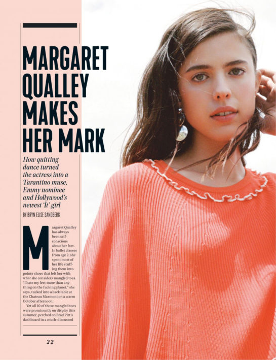 Margaret Qualley in The Hollywood Reporter Magazine, November 2019