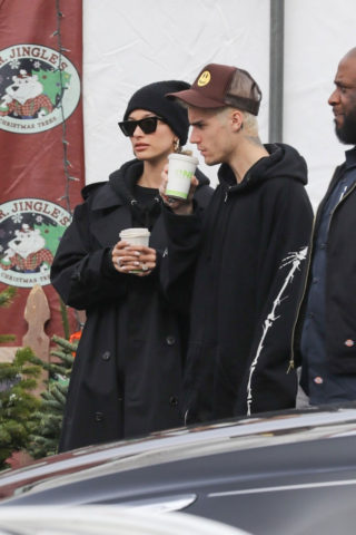 Hailey Bieber and Justin Bieber at Mr. Jingle's Christmas Trees in Los Angeles