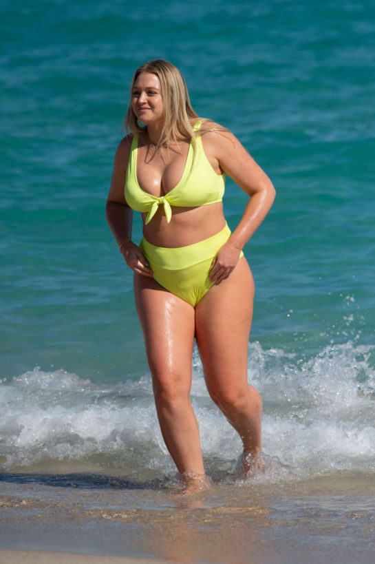 Pregnant Iskra Lawrence in a Bright Yellow Bikini at a Beach in Miami