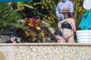 Behati Prinsloo on the pool in Cabo San Lucas