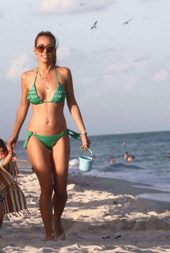 Annemarie Carpendale in Green Bikini at the beach in Miami