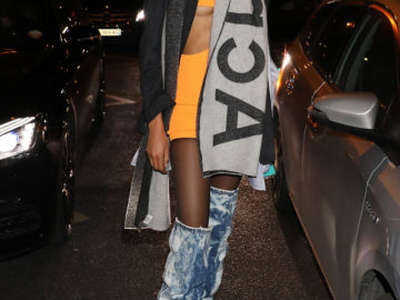 Cindy Bruna Leaves Jean-Paul Gaultier Show at Paris Fashion Week