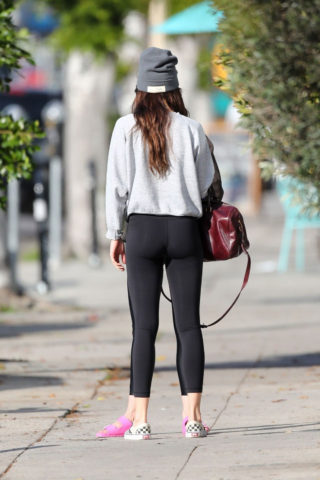 Dakota Johnson in Tights Leaves a Gym in Los Angeles