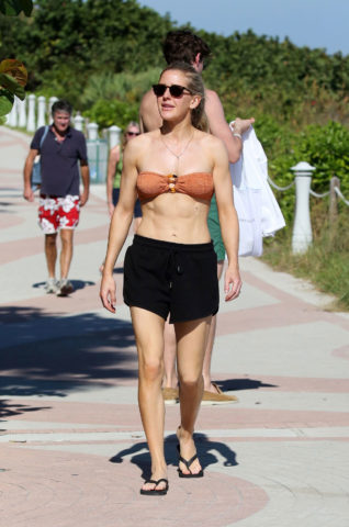 Ellie Goulding in Bikini Top and Shorts out in Miami