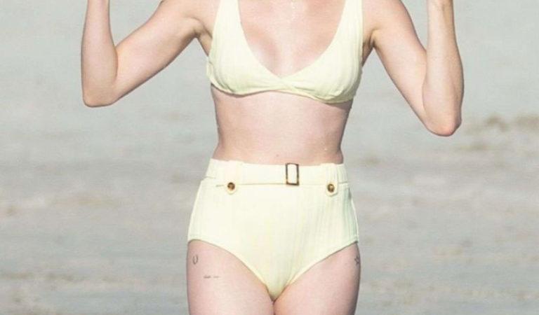 Celebrity Bikini – Emma Roberts in Yellow Bikini at a Beach in Punta Punta Mita, Mexico