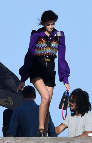 Kaia Gerber Louis Vuitton photoshoot in Miami, Florida