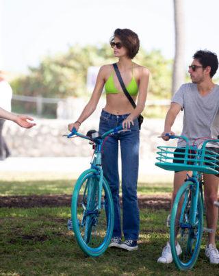 Kaia Gerber in Bikini Top Out Cycling in Miami