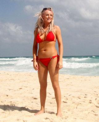 Katie McGlynn in Red Bikini at a Beach in Mexico