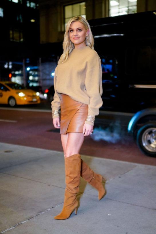 Kelsea Ballerini in Leather Mini Skirt in NYC
