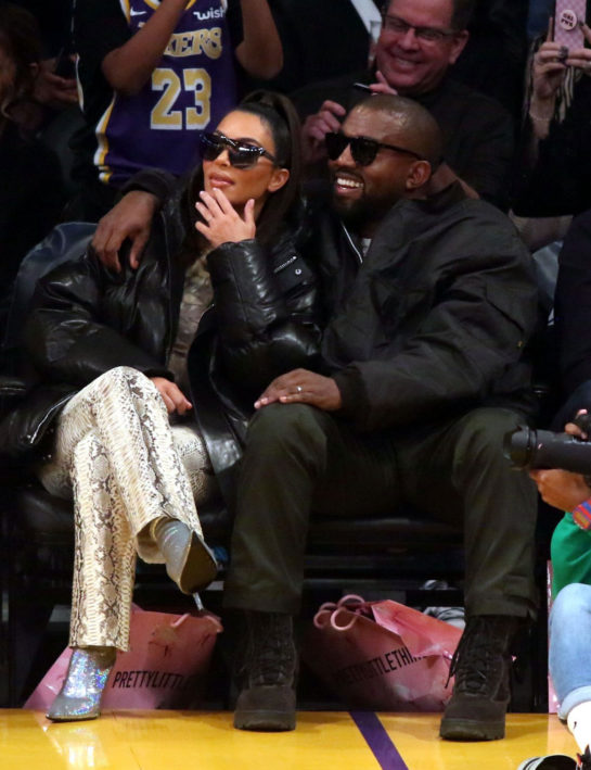 Kim Kardashian and Kanye West at Cleveland Cavaliers vs LA Lakers Game in Los Angeles