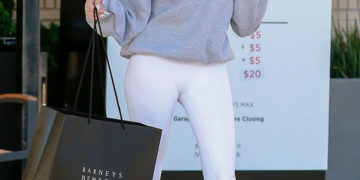 Madison Beer in a White Leggings Shopping at Barneys New York in Beverly Hills