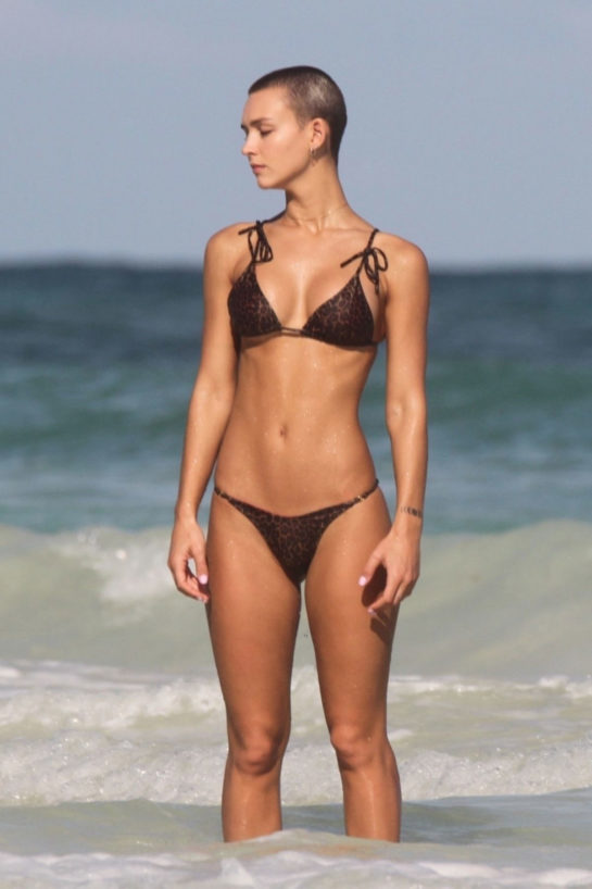 Rachel Cook in Bikini at a Beach in Tulum