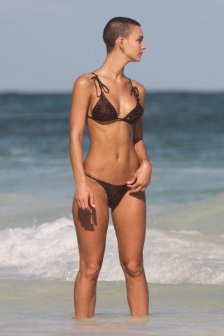 Rachel Cook in Bikini at a Beach in Tulum