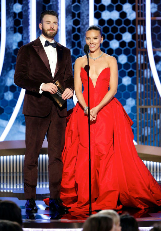 Scarlett Johansson and Chris Evans at 77th Annual Golden Globe Awards in Beverly Hills