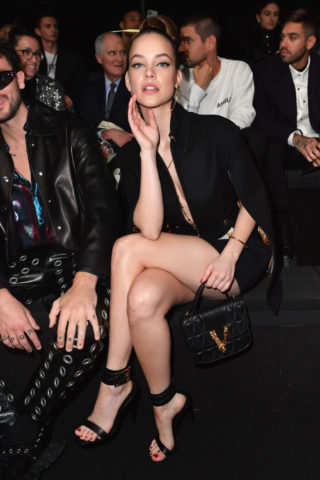 Barbara Palvin arrived at the Versace Fashion Show at MFW in Milan