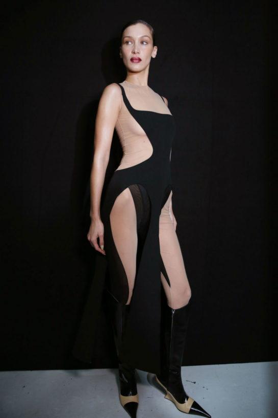 Bella Hadid backstage at Mugler fashion show spring 2020 collection, Paris Fashion Week