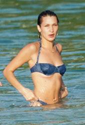 Bella Hadid in a Denim Dior Bikini During Vacation in St. Barts