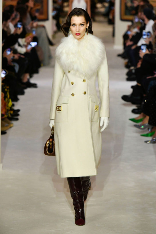 Bella Hadid walks the runway during the Lanvin show at Paris Fashion Week