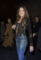 Carla Bruni in Denim Arrives at Celine Fashion Show in Paris