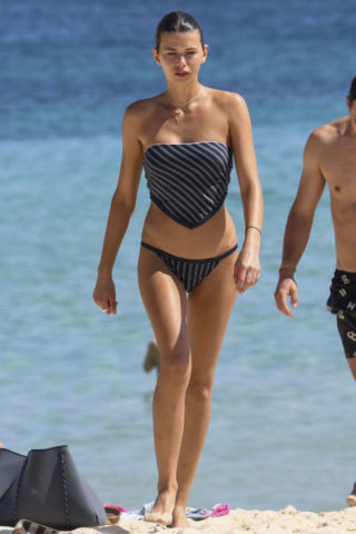 Georgia Fowler in Navy Striped Bikini on Bondi Beach in Sydney