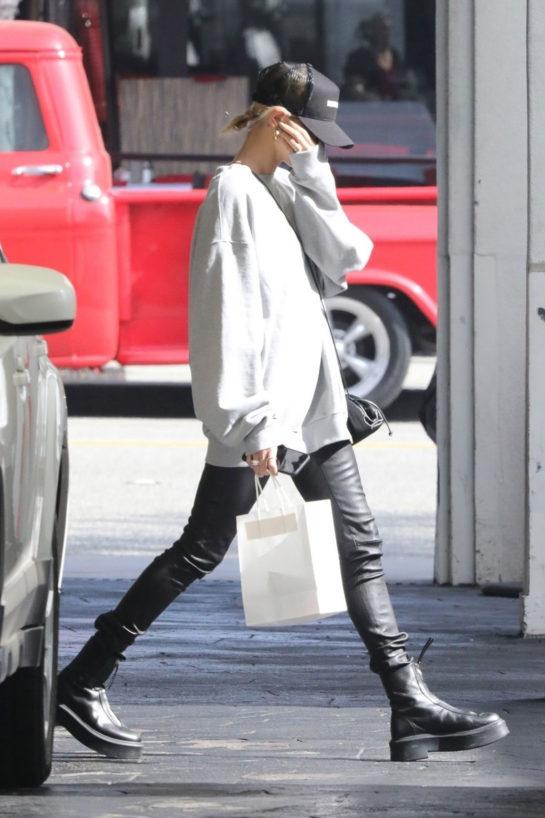 Hailey Bieber Street Leaves a Spa in Los Angeles