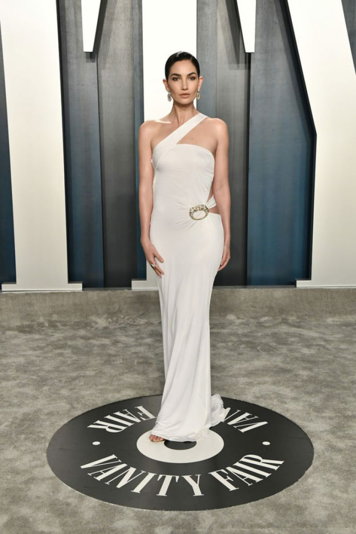 Lily Aldridge at 2020 Vanity Fair Oscar Party in Beverly Hills