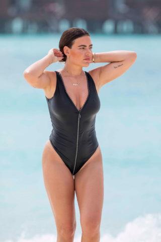Megan Barton Hanson in Black Swimsuit at a Beach in Maldives