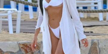 Olivia Culpo in White Bikini at a Beach in Mexico