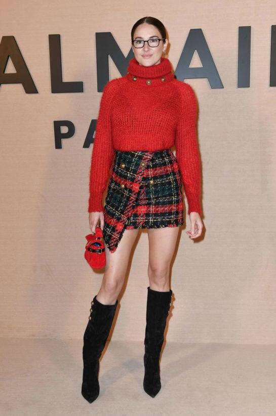 Shailene Woodley at Balmain Show during Paris Fashion Week