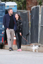 Ana de Armas and Ben Affleck Out with their dog in Brentwood