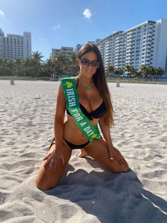 Claudia Romani in Bikini Ready for St Patrick's Day in South Beach