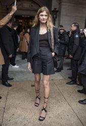 Constance Jablonski arrives at Stella McCartney Show at Paris Fashion Week