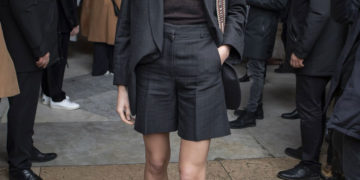 Constance Jablonski arrives at Stella McCartney Show at Paris Fashion Week