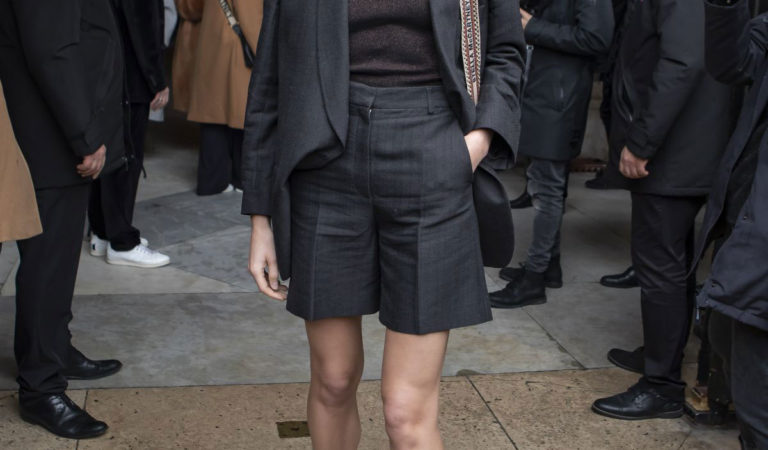 Celebrity Fashion – Constance Jablonski arrives at Stella McCartney Show at Paris Fashion Week