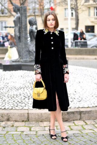 Emma Corrin Arriving at Miu Miu Show at Paris Fashion Week