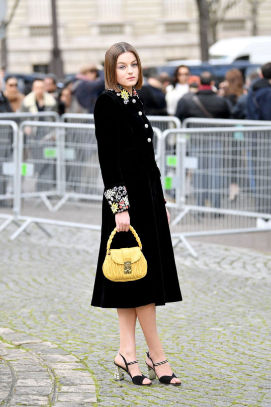 Emma Corrin Arriving at Miu Miu Show at Paris Fashion Week