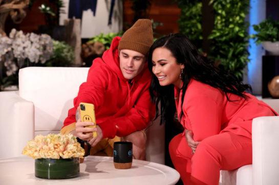 Guest Host Demi Lovato and Justine Bieber on Ellen DeGeneres Show