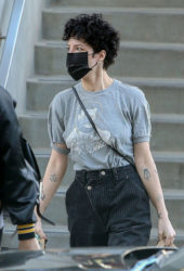 Halsey Wears Black Face Mask at Erewhon Market in Los Angeles