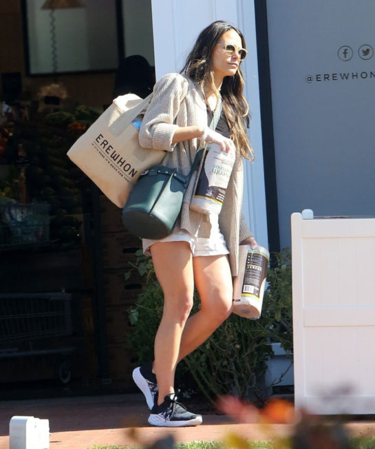 Jordana Brewster in Shorts Out Shopping in Pacific Palisades