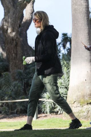Laura Dern wears facemask while walking her dog in LA