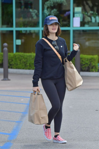 Lucy Hale Shops for groceries in Studio City, California