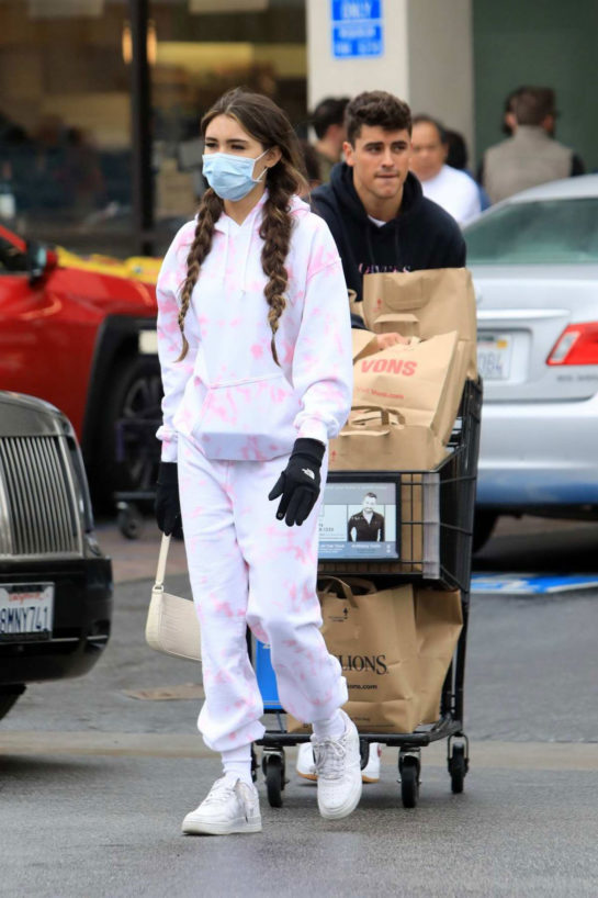 Madison Beer wears surgical mask and gloves amid Coronavirus Pandemic in LA