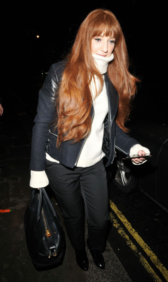 Nicola Roberts in a cream polo neck and black jacket as she left the Garrick Theatre in London